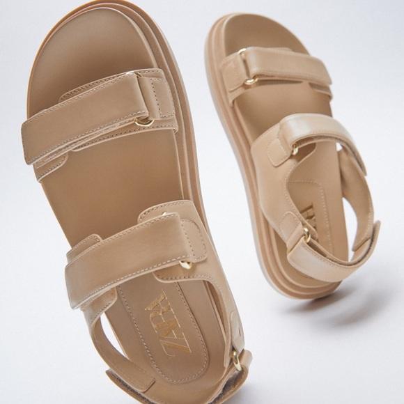 Zara adhesive strap leather sandals NWOT